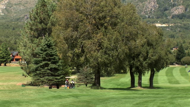 ws zo people driving cart and playing golf at arelauquen golf & country club / san carlos de bariloche, rio negro, argentina - golf cart stock videos and b-roll footage