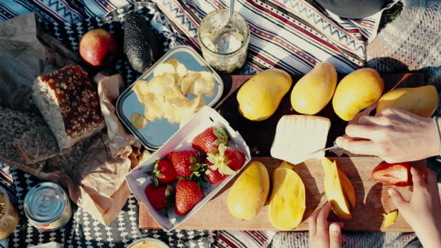 people eating colorful picnic with fruit and bread - käse stock-videos und b-roll-filmmaterial