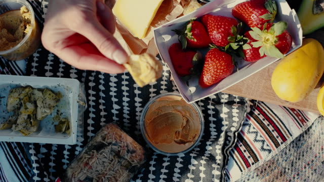 people eating colorful picnic with fruit and bread - picknick stock-videos und b-roll-filmmaterial