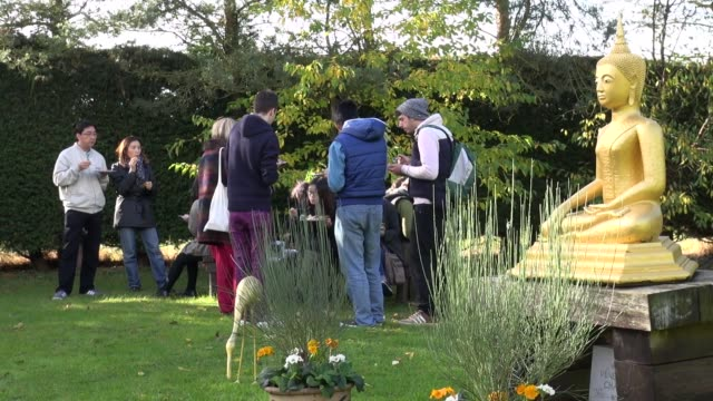 people eating thai food in the garden of the forest hermitage near warwick, england, celebrating the last day of vassa. vassa is a three month... - theravada stock videos & royalty-free footage