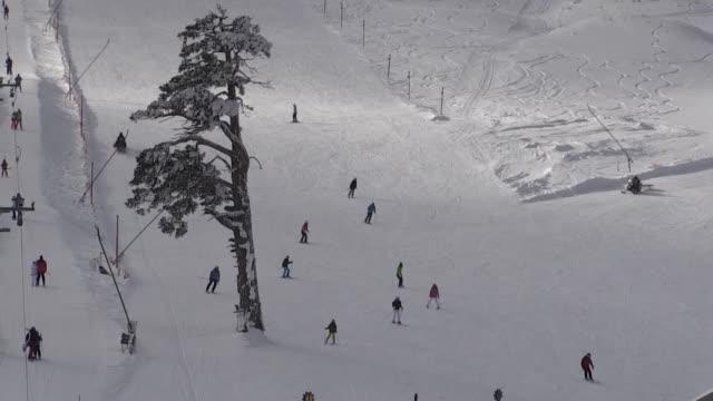 People Enjoy Skiing At Kartalkaya Ski Resort In Bolu Province Of