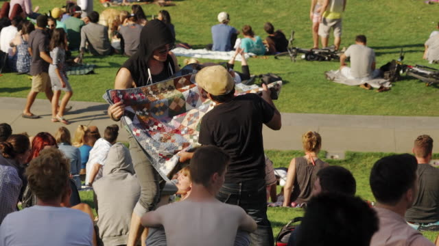 people enjoy sunny day in dolores park, san francisco usa - picnic stock videos and b-roll footage
