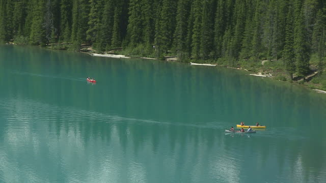 MS People enjoying at Moraine Lake in ten peaks valley at nationalpark / Lake Louise, Alberta, Canada