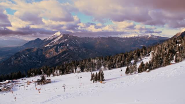 People enjoying at ski resort