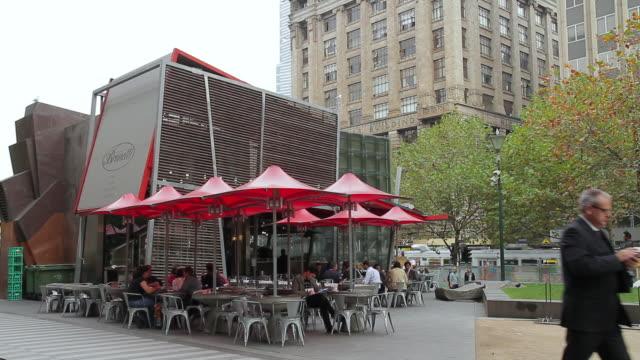 MS People enjoying Café culture at swanston street city centre / Melbourne, Victoria, Australia