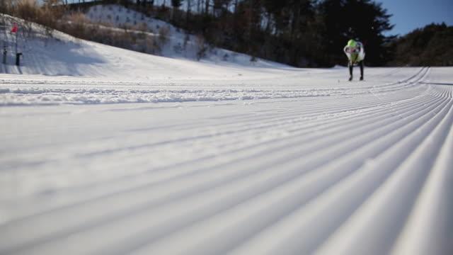 ms la people enjoying cross country skiing / pyeongchang, gangwondo, south korea - längd bildbanksvideor och videomaterial från bakom kulisserna