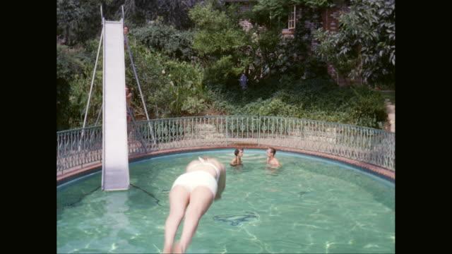 MS TU People enjoying in swimming pool / United States