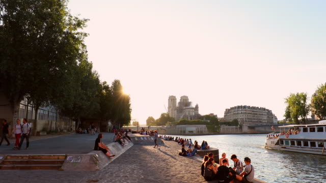 people enjoying the sunset at seine river bank and notre dame - river seine stock videos & royalty-free footage