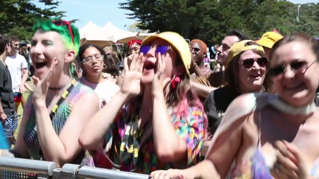people enjoying themselves at big gay out on february 14, 2021 in auckland, new zealand. big gay out is new zealand's largest rainbow community event... - new zealand stock videos & royalty-free footage