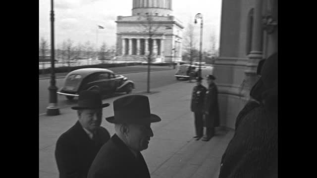 stockvideo's en b-roll-footage met people enter riverside church for memorial service for prince george duke of kent / adolph zukor founder of paramount pictures walks towards church... - 1942