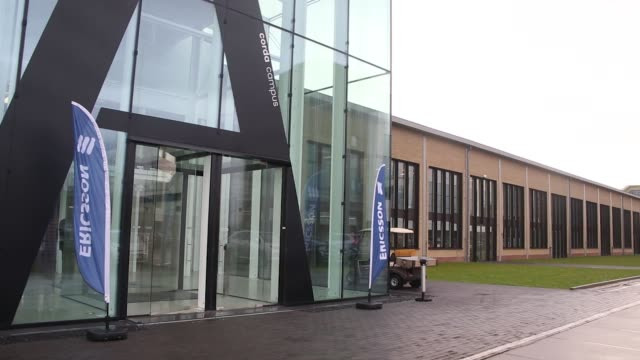 People enter the Corda Campus building as Ericsson AB opens their 5G mobile data service and Internet of Things center in Hasselt Belgium on...