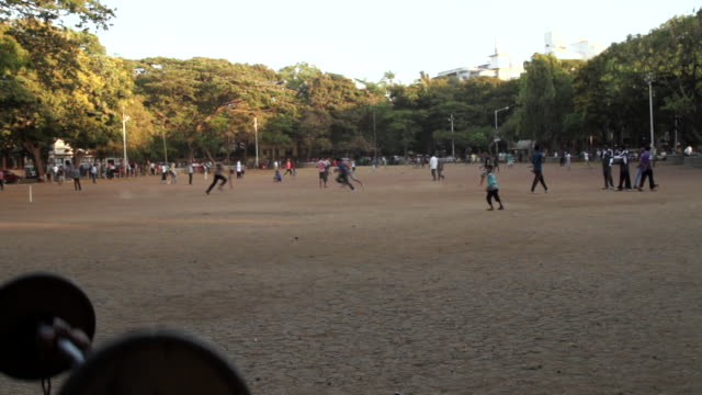 people exercise and play cricket in a park in mumbai. - volleyball sport stock videos & royalty-free footage