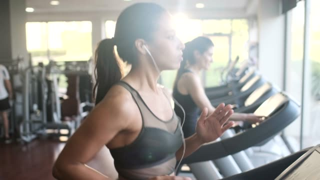 people exercising on a treadmill. - stabilimento sportivo video stock e b–roll