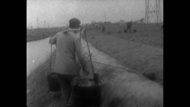 people fetch water to irrigate agricultural field in china; 1964 - bucket stock videos & royalty-free footage