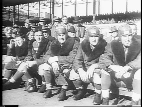 people fill stadium, crowds in stands / new york giants team on the bench / chicago bears bench / highlights of football game / bears touchdown /... - 1943 stock-videos und b-roll-filmmaterial