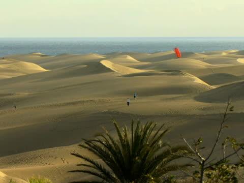 HA WS People flying kite on sand dunes with ocean in background / Maspalomas, Gran Canaria, Spain
