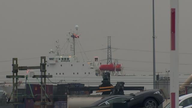 people found dead inside lorry in essex; england: essesx: purfleet: ext various shots of 'melusine' ferry - エセックス州点の映像素材/bロール