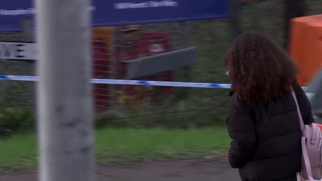 people found dead inside lorry in essex; england: essex: grays: waterglade industrial park: ext young woman along with bunch of flowers - floral... - エセックス州点の映像素材/bロール