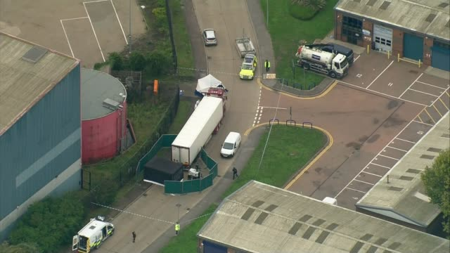39 people found dead inside lorry in essex england essex grays waterglade industrial park views / aerials container lorry parked in industrial estate... - container stock videos & royalty-free footage
