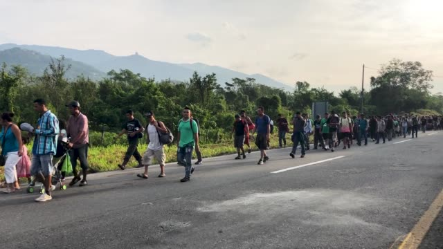 people from a caravan of central american migrants walk along a roadside on their way to the united states on january 20 2019 in huixtla mexico - refugee stock videos & royalty-free footage