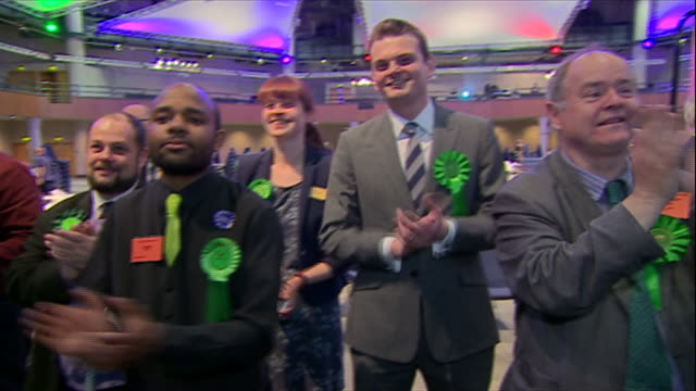 people from the green party celebrating success in the european elections - green party stock videos and b-roll footage
