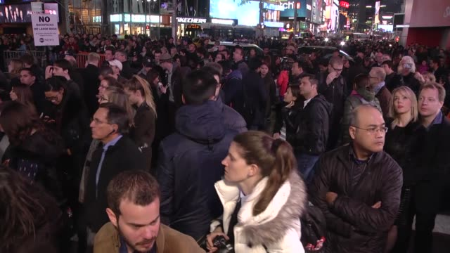 people gather around times square to watch televised results of the us presidential election on november 8 2016 in new york millions of americans... - 2016 stock videos & royalty-free footage
