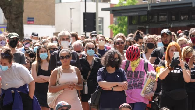 people gather at a black lives matter peaceful protest in newington green showing their support on june 13 2020 in london england black lives matter... - tranquility stock videos & royalty-free footage
