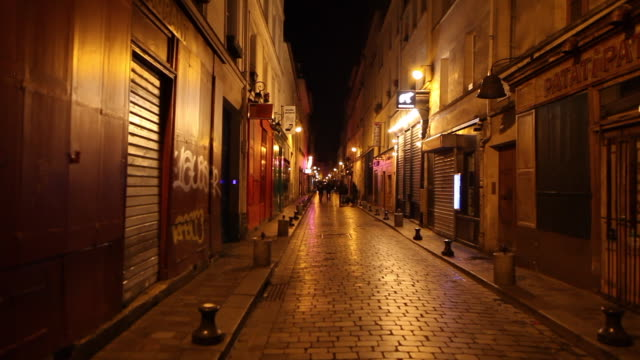 bastille district street after the bars close rue de lappe 75011 paris paris march 15 2020 paris france march 14 people gather at cafe le recrutement... - bastille paris stock videos & royalty-free footage