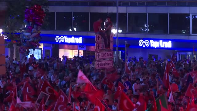 People gather at July 15th Kızılay National Will Square to attend July 15 Democracy and National Unity Day's events to mark July 15 defeated coup's...