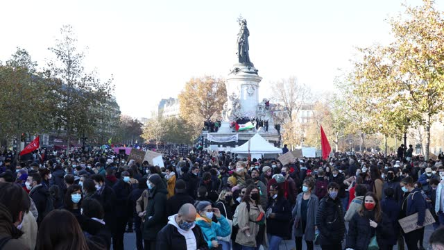 """people gather at place de la republique in order to demonstrate between place de la republique and place de bastille to protest against the """"global... - law stock videos & royalty-free footage"""
