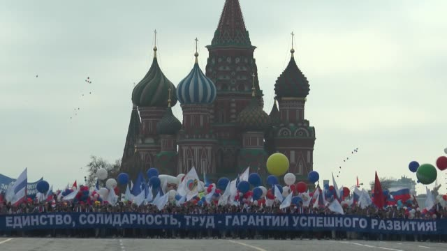 people gather at red square to mark international workers' day in moscow, russia on may 01, 2018. - red square stock videos & royalty-free footage