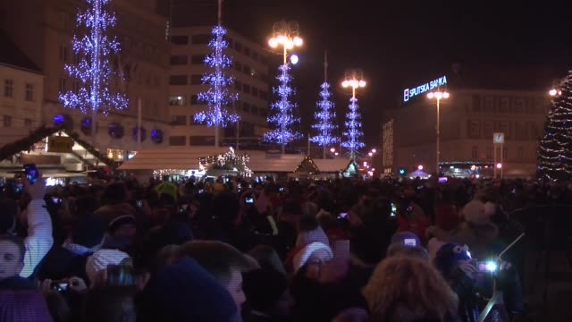 people gather at the ban jelacic square to celebrate the arrival of the new year in zagreb croatia on january 01 2017 - zagreb stock videos & royalty-free footage