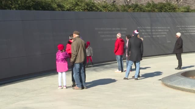 people gather at the wreath laying ceremony at the martin luther king jr. memorial on the national mall during mlk day january 20, 2020 in... - monument stock videos & royalty-free footage