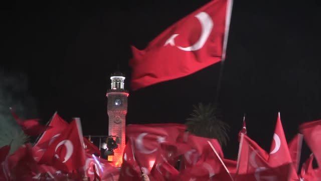 people gather during a protest against july 15 failed military coup attempt at konak square in izmir, turkey on july 31, 2016. turkish officials... - law stock videos & royalty-free footage