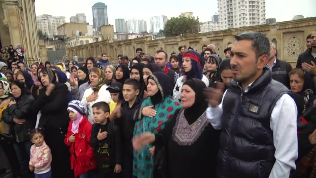 people gather in baku azerbaijan on october 12 2016 to commemorate the martyrdom of prophet muhammad's grandson imam hussein and his accompanies who... - imam hussein stock videos and b-roll footage