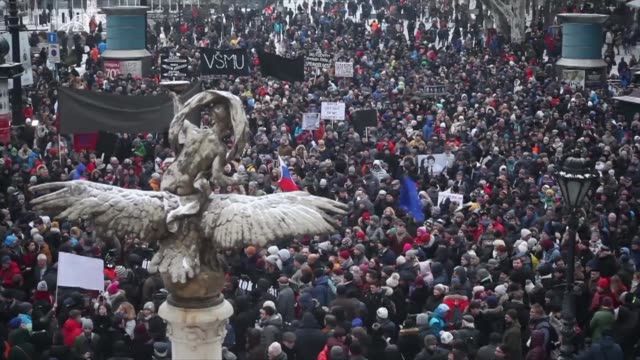 People gather in Bratislava to demonstrate against the murder of Jan Kuciak a journalist who was probing alleged high level political corruption...
