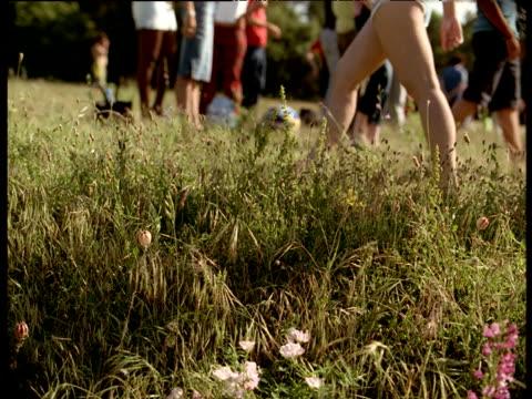 people gather in field for music festival - menschliche gliedmaßen stock-videos und b-roll-filmmaterial