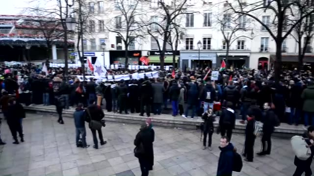 People gather in front of Fontaine des Innocents to protest against Islamophobia and racism following the recent Paris terror attacks on January 18...
