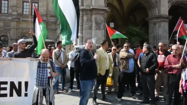 people gather in front of vienna state opera in vienna on may 18, 2018 to denounce the bloodshed along the gaza border and the relocation of the us... - us state border stock videos & royalty-free footage