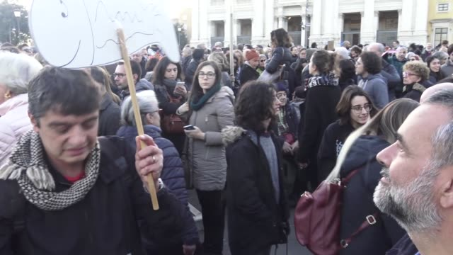 people gather in st john at the lateran square for a demonstration of the quotsardinesquot an italian grassroots movement against rightwing populism... - populism stock videos and b-roll footage
