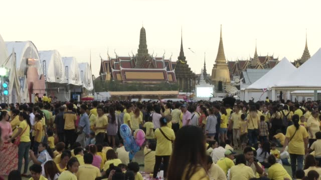 people gather on saun luang in front of the grand palace to celebrate the king of thailand king bhumibol adulyadej's 87th birthday - king of thailand stock videos and b-roll footage