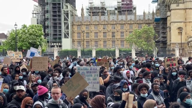 people gather to protest against institutional racism and in support of the black lives matter movement, as seen here with thousands of young people... - uk stock videos & royalty-free footage
