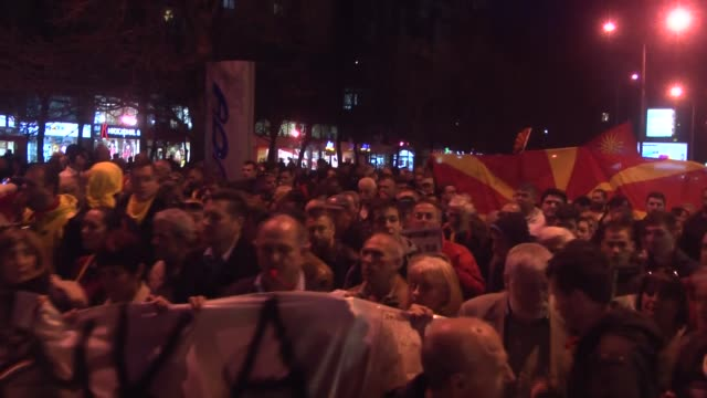 people gather to protest against leader of the social democratic union of macedonia zoran zaev after he accepted albanian platform in skopje... - skopje stock videos and b-roll footage