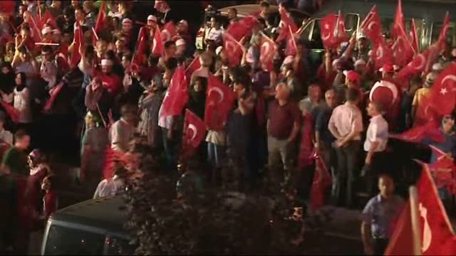 people gather to protest against parallel state/gulenist terrorist organization's failed military coup attempt in istanbul turkey on july 19 2016 - staatsstreich stock-videos und b-roll-filmmaterial