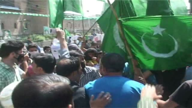 people gathered at a protest rally organised by moderate hurriyat conference chairman mirwaiz umer farooq in srinigar's old city in indian controlled... - youth organisation stock videos & royalty-free footage