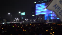 People gathered at Gwanghwamun Square to protest candlelight rally