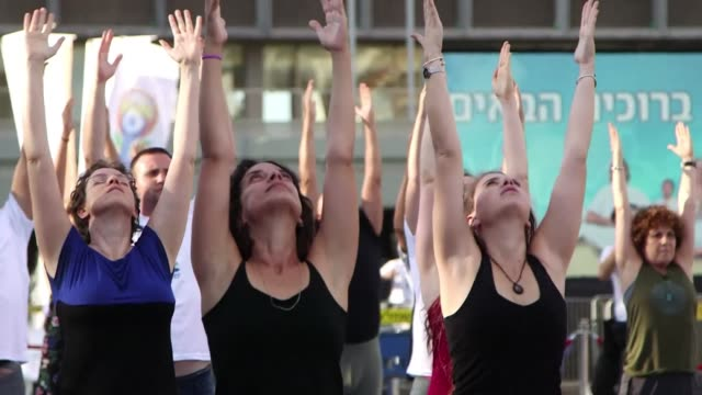 People gathered in Tel Aviv's Rabin Square to celebrate the third International Yoga Day like millions of others across the globe who celebrated the...