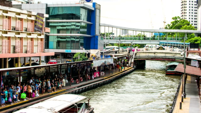 People Getting into a Passenger Ship in Canal in Bangkok, Time lapse video