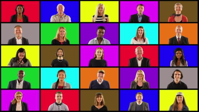 vídeos y material grabado en eventos de stock de 4k: montaje de la rejilla de la gente - mucha gente mirando a la cámara en multi-colorcuadrados - mosaico