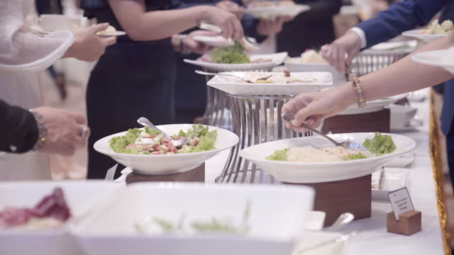people hand catering buffet food. - myanmar stock videos & royalty-free footage